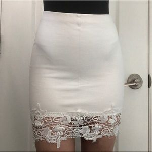 White Bodycon Skirt With Lace Detail
